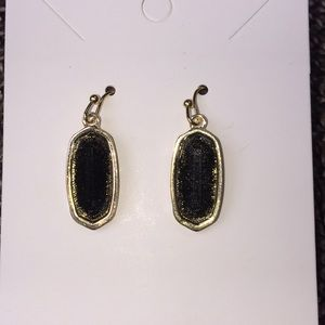 Black Glittery Drop Earrings